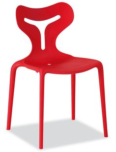 Modern Stackable Chair Design for Outdoor and Indoor Furniture, Area 51 Chair by Calligaris – Red