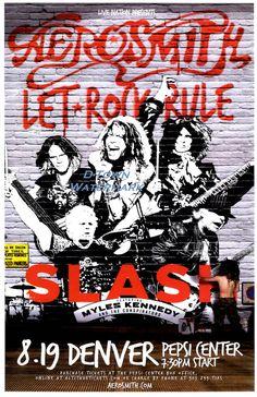 AEROSMITH & SLASH 2014 Live @ Pepsi Center - Denver Concert Flyer / Gig Poster