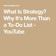 Most people treat strategy like it's to-do list. And that's how businesses find themselves executing on too many competing priorities. What Is Strategy, Math, Youtube, Math Resources, Youtubers, Youtube Movies, Mathematics