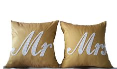 Mr Mrs Pillows Decorative Pillows Accent Pillows by AmoreBeaute