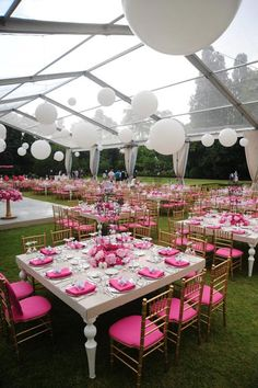 Love the tables!!! GLOBO hanging lights. #plastic #lamp #pink #party #gardenparty
