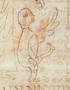 A bird.  鳥、らしい。ユルいけど狂気を感じる。8th century。Paris, Bibliothèque Nationale, Ms. lat. 10910, fol. 23v.