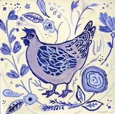 Beautiful artwork from Cathy Nichols using her new Farmhouse Chicken stencil from StencilGirl