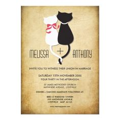 Funny Cat Couple Wedding Invite #cats #wedding