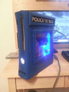 Custom TARDIS Xbox Case- I don't play XBOX, but this is pretty cool!