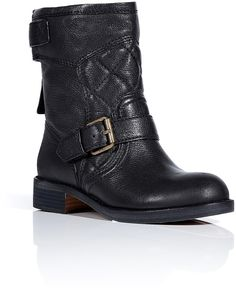 Black Quilted Leather Biker Boots - Lyst