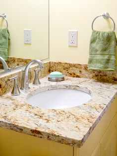 Bathroom vanity in Yellow River granite with Eased edges. Guest Bathrooms, Bathroom Ideas, Yellow River, Granite, Countertops, Kitchen Remodel, Sink, Baths, Home Decor