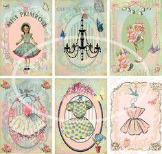 Girlie Girl--Digital Scrapbooking-Collage Sheet-Digital Card-Digital Image via Etsy