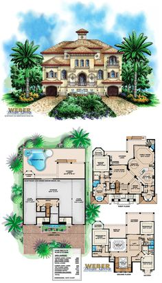 F3-4880 - Three-story Casa Bella IV waterfront house plan with 4,880 square feet of living area.  4 bedrooms, 5 full baths, 1 half bath, 4 car garage.