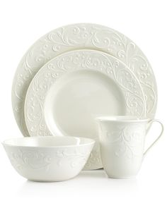 Lenox Dinnerware, Opal Innocence Carved 4 Piece Place Setting - Fine China - Dining & Entertaining - Macy's