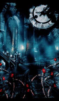 Red vines; big clock; gothic;