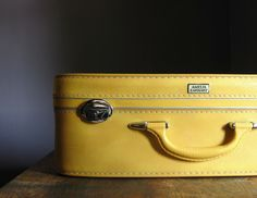 """Use our vintage yellow suitcases as """"drawers"""" for under the crib storage Vintage Suitcases, Vintage Luggage, Vintage Travel, Vintage Market, Vintage Love, Vintage Yellow, Vintage Items, Yellow Cottage, Amelia Earhart"""