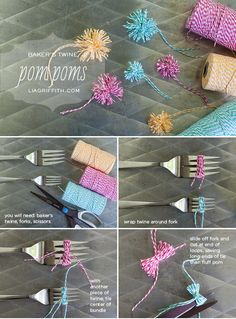 DIY Mini Pom Poms from Baker's Twine (Lia Griffith) - Genius! There are so many uses for these little poms of cuteness! #FavoriteThingsGiveaway