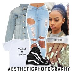 """don't let negativity bring you down, bring positivity up"" by geazybxtch24 ❤ liked on Polyvore featuring Current/Elliott, Bobbi Brown Cosmetics and Vans"