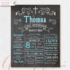 Chalkboard poster. First Communion Poster. by AlapipetuaDesign