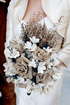 Pretty burlap wedding bouquet, perfect for a rustic winter wedding. Burlap Bouquet, Lace Bouquet, Diy Wedding Bouquet, Burlap Lace, Burlap Flowers, Chic Wedding, Dream Wedding, Wedding Day, Paper Flowers