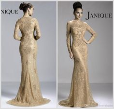 2014 Hot Janique Mother of the Bride Dresses Crew Neck Champagne Lace Long Sleeve Illusion Appliques Beads Mermaid Prom Gowns JQ3411
