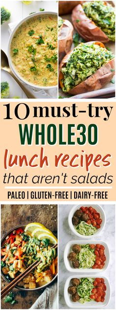 10 Whole30 Lunch Ideas that Aren't Salads | These Whole30 lunch ideas look SO amazing! I really needed some Whole30 lunch ideas because I'm tired of eating the same things all the time. I love that all of these Whole30 lunch recipes are easy to make and none of them are salads! Plus, all of them are paleo, gluten-free, grain-free, and dairy-free. Definitely pinning for later! #paleo #whole30 #paleorecipes #whole30recipes