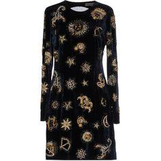 Emilio Pucci Short Dress ($2,660) ❤ liked on Polyvore featuring dresses, dark blue, long-sleeve mini dress, beaded mini dress, swing dress, dark blue dress and trapeze dress