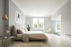 Inspiration for a large contemporary master bedroom remodel in London with gray walls and light hardwood floors Living Room Partition Design, Room Partition Designs, Decorative Items For Bedroom, Open Kitchen And Living Room, House Front, Home Decor Bedroom, Master Bedroom, Apartment Design, Villa