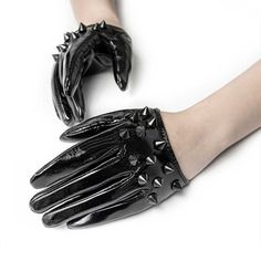 Punk Rave Black Spike Gloves | Kate's Clothing Vampire Teeth, Punk Rave, Gothic Fashion, Gloves, Leather, Black, Clothing, Style, Outfits