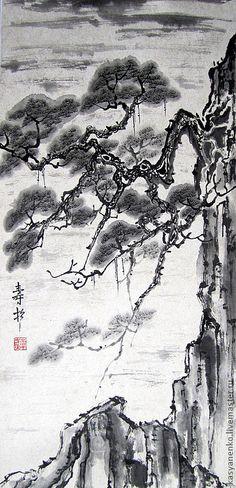 Купить Долголетие сосны в горах - чёрно-белый, китайская живопись, гохуа, елена касьяненко, сосна