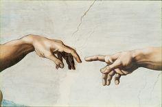 Сотворение Адама (фрагмент). Микеланджело Буонарроти