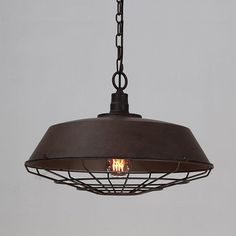 Vintage Industrial Pendant Light With Cage Covering - Rustic #cage #ceiling #factory
