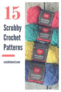 Scrubby Yarn is Hot! Check out Some Free Scrubby Yarn Patterns Here Scrubbies Crochet Pattern, Cotton Crochet Patterns, Crochet Dishcloths, Crochet Stitches Patterns, Crochet Yarn, Crochet Flowers, Crochet Cozy, Crochet Geek, Kids Crochet