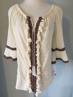 4b8813008 NWT Hannah Women's Peasant Boho Style Top Fringe Front Size Medium Retail  $48 #Hannah #