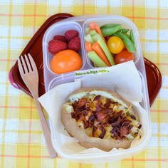Baked potato packed for lunch