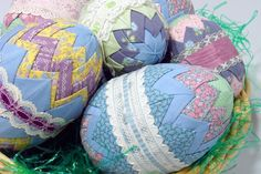 I made these years go... Still have them...   Quilted Easter Eggs
