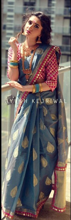 Cotton silk saree by Ayush Kejriwal. Love the saree blouse design and the jewellery! Indian Look, Indian Ethnic Wear, Indian Dresses, Indian Outfits, Bollywood, Desi Clothes, Elegant Saree, Indian Couture, Indian Attire