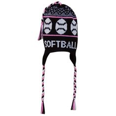 Fleece Lined Knit SOFTBALL Hat Black Pink. add your jersey number on ear  flap 1853c8b709ec
