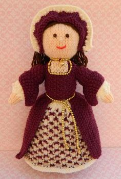 Doll Knitting Pattern - Catherine - A Tudor Doll - 1546 by Joanna Marshall This is Catherine, a Tudor Lady 1546. Catherine is a knitted Tudor doll and is 28cms tall. I have based this doll on the portrait of Princess Elizabeth, 1546, who later became Queen Elizabeth I of England. Elizabeth is about 13years old in the portrait. Women's court fashion was varied. The bodice was tightly fitted and the skirt was triangular in shape. I have tried to keep to this dress shape. My design includes a…
