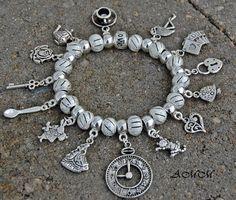 *AMAZING* ~ ALICE IN WONDERLAND ~ LOADED Euro/European Bead Charm Bracelet ~ FREE US SHIP!