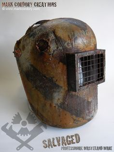 Post Apocalypse LARP costume welder's mask made by Mark Cordory Creations. Commission enquiries welcome @ www.markcordory.com