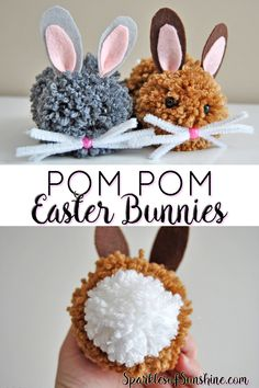 Pasen - Lente - PomPom hazen - Knutselen met kinderen - Learn how to make pom pom Easter bunnies. These sweet little bunnies are the perfect addition to Easter baskets!