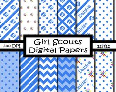12x12 Daisy Girl Scout Digital Paper Pack on Etsy, $4.99