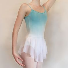 This is a leotard I dip dyed! It turned out great and looks so pretty with my Royall Dancewear ballet skirt: www.etsy.com/listing/230305642/classic-white-stretch-mesh-ballet-skirt