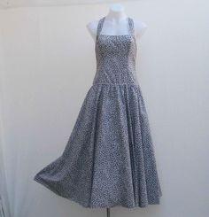 Vintage blue and white dress, halter neck dress, vintage dress, 80s dress, retro blue dress, eighties 80s 1980s dress, crossover back dress by Rethreading on Etsy