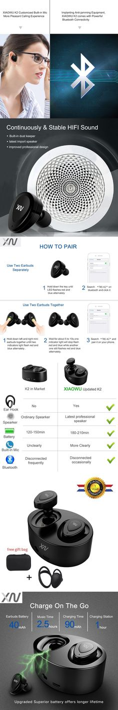 XiaoWu In-Ear Earhphones Wireless Bluetooth Stereo Handsfree Headset with Microphone and Charging Box for Iphone8 plus+Ear hook