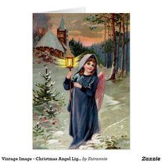 Vintage Image - Christmas Angel Lighting the Way