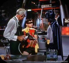 Alan Napier as Alfred, Burt Ward as Robin, and Adam West as Batman