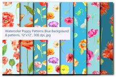 Watercolor poppy Patterns Blue Theme by Corner Croft on Creative Market