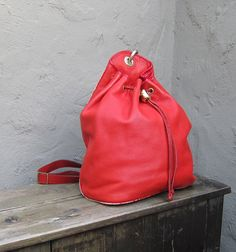 Vintage Red Italian Leather Slouchy Knapsack by Trustfund21,
