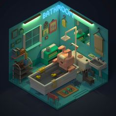 Isometric Bathroom with Bunny in Tub Isometric Art, Isometric Design, 3d Design, Game Design, Voxel Games, Pixel Art Games, 3d Figures, Low Poly Models, House Drawing