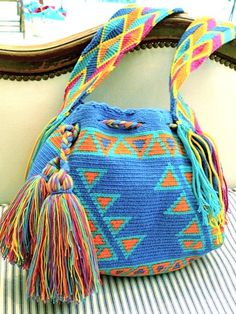 Wayuu Mochila Bag in Summer Brights from CJ Laing Crochet Baby Shoes, Crochet Slippers, Mochila Crochet, Tapestry Crochet Patterns, Tapestry Bag, Crochet Purses, Knitted Bags, Handmade Bags, Free Knitting