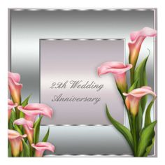Calla Lily 25th Wedding Anniversary Party Custom Invitation