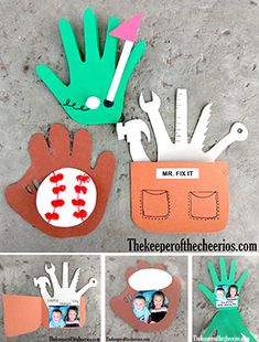 3 Fantastic Father's Day Hand print Card Ideas Materials: Card stock or Construction paper Child's photo Scissors Markers Craft paint (red) Glue White pom pom Baseball Card- Directions: Trace childs hand on a sheet of brown paper (trace wide around the fingers) Draw a section across the hand between the thumb and pointer finger for the webbing on the glove Cut out glove/ hand print (see pictures below) Cut out a circle/ baseball from white paper that fits in the center of th...